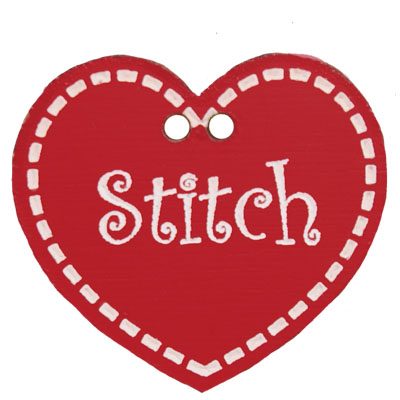 Stitch hart in warm rood